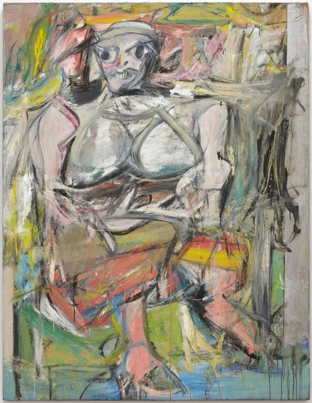 """Willem de Kooning, """"Woman, I,"""" 1950-52. Oil, enamel and charcoal on canvas. 6' 3 7/8"""" x 58"""". The Museum of Modern Art, New York. Purchase. © 2011 The Willem de Kooning Foundation / Artists Rights Society (ARS), New York."""