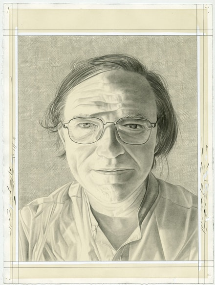 Portrait of Robert Storr. Pencil on paper by Phong Bui.