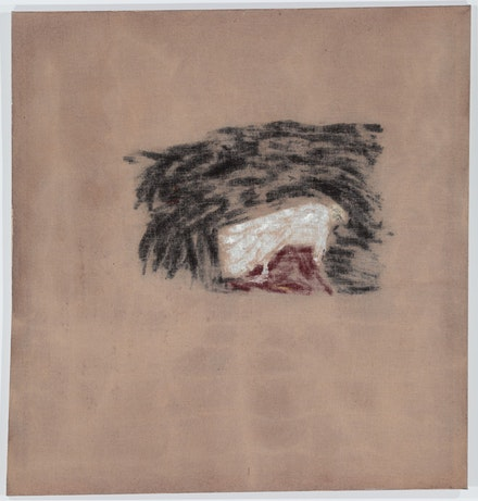 Sergej Jensen, 2011, Oil, acrylic, and marker on burlap, 78 3/4 x 74 3/4 inches. Courtesty the artist, Anton Kern Gallery, New York.