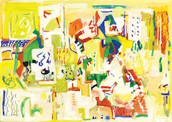 "Raditsa, Bosilkja. a year in a day, 2010, 5"" x 9"", gouache. Image courtesy of The Painting Center."
