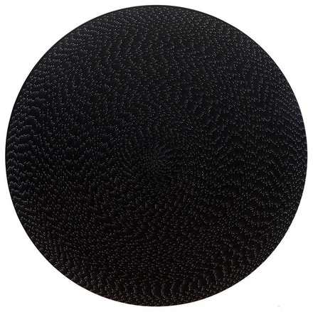 "Michelle Grabner, ""Untitled,"" 2011. Flash and black gesso on canvas. 80"" diameter."