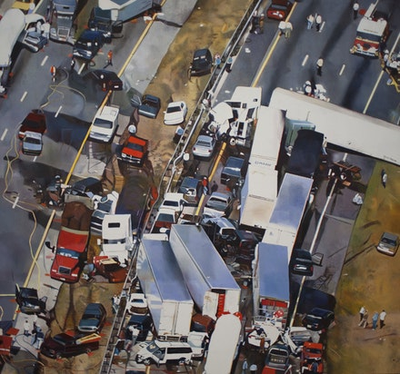 "Malcolm Morley, ""The Theory of Catastrophe,"" 2004. Oil on linen. 6 x 81"". Hall Collection"