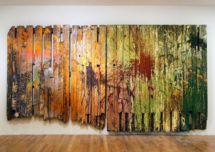 """The Execution of Maximilian."" Oil, acrylic, and enamel paint on wood fence, 151 x 80"", 2011-2012."