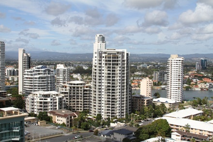 Image of Gold Coast from hotel balcony.
