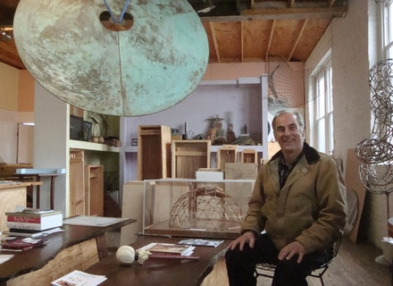 Artist Val Bertoia with Harry Bertoia's Sonambient gong and boxed sound sculptures. Photo credit: Gabriella Radujko, © 2012.