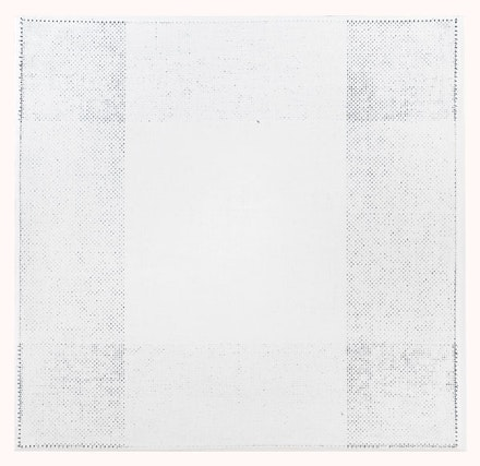 "Michelle Grabner, ""Untitled,"" 2011. Linen and gesso on panel. 16 x 16""."