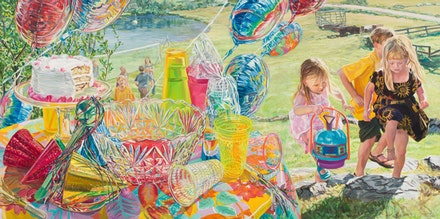 "Janet Fish, ""Balloons,"" 1999. Oil on canvas. 50 x 100"". Courtesy of DC Moore Gallery, New York."