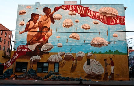 """Informed, Empowered,"" a Groundswell mural at 3rd and 23rd in Sunset Park. Photo by Nick Childers."