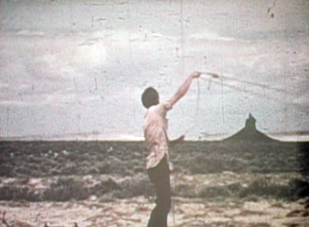 "Paul Kos, ""Roping Boar's Tusk,"" 1971. DVD (Transferred from Super-8 film). Courtesy Nyehaus."