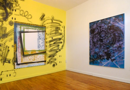 "Tamara Gonzales. Installation view, L to R: ""totter,"" 2011, spray paint on canvas, 62 x 50""; ""drifting on a sea,"" 2011, spray paint on canvas, 62 x 50"". Courtesy Norte Maar."