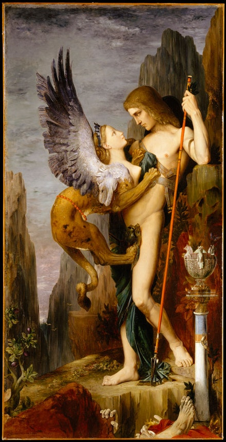 "Gustave Moreau, ""Oedipus and the Sphinx,"" 1864. Oil on canvas, 81 1/4 x 41 1/4"". Bequest of William H. Herriman, 1920. © The Metropolitan Museum of Art. Image source: Art Resource, NY."