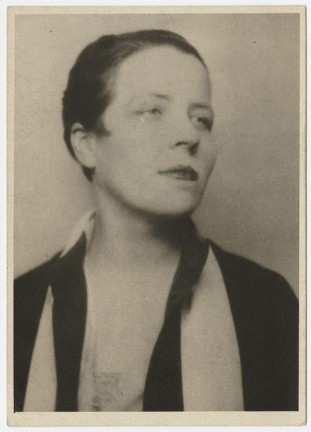 <i>Djuna Barnes, portrait</i>, circa 1920s. Photograph. 4 x 2 3/4 in. Djuna Barnes Papers, Special Collections, University of Maryland Libraries.