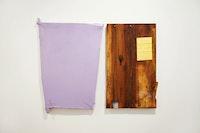 """Michiel Ceulers, """"Stark ausgeprägte und sehr stark unterdrückte Sexualität / Ein Triptychon der Fragen,"""" 2012. Left: acrylic, oil, spray paint, & screws on artist-made panel and canvas, 33.1 x 22""""; right: wooden board, 28.9 x 17.7"""". Courtesy of Ana Cristea Gallery."""