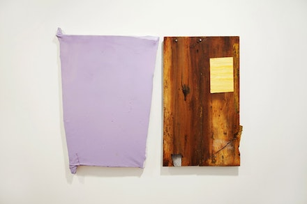"Michiel Ceulers, ""Stark ausgeprägte und sehr stark unterdrückte Sexualität / Ein Triptychon der Fragen,"" 2012. Left: acrylic, oil, spray paint, & screws on artist-made panel and canvas, 33.1 x 22""; right: wooden board, 28.9 x 17.7"". Courtesy of Ana Cristea Gallery."