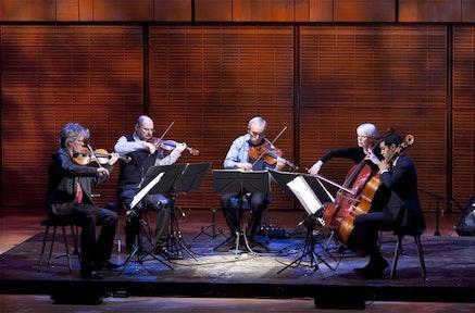 Kronos Quartet with Joan Jeanrenaud playing Vladimir Martynov's <i>Schubert-Quintet (Unfinished)</i> at Zankel Hall. Photo: Richard Termine.