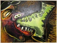 "Nick Lawrence, ""Foot-in-Mouth"" (2005) mixed media, 48 x 60 inches."