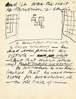 Calder&#146;s sketch of Mondrian&#146;s 1930 Paris studio in Calder&#146;s manuscript, <em>The Evolution</em>, 1955-56, p. 80.