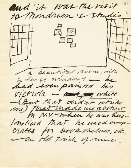 Calder's sketch of Mondrian's 1930 Paris studio in Calder's manuscript, <em>The Evolution</em>, 1955-56, p. 80.