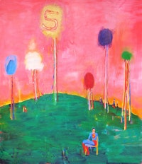 "Katherine Bradford, ""At Home,"" 2011. Oil on canvas, 80 x 68"