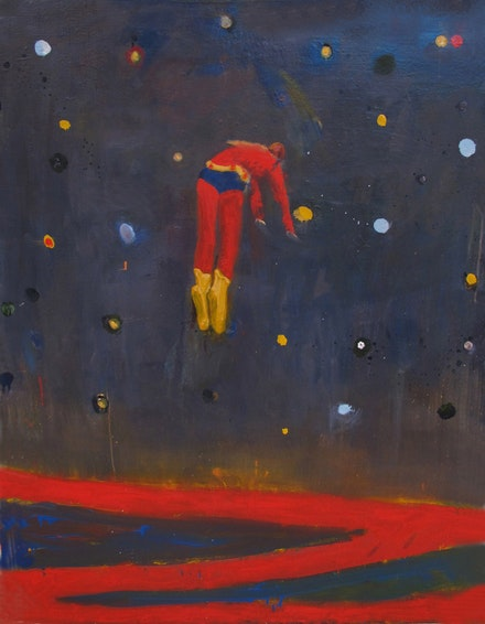 "Katherine Bradford, ""Superman Responds, Night,"" 2012. Oil on canvas, 48 x 36"