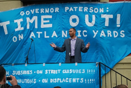 Hakeem Jeffries speaking at the Atlantic Yards rally, May 3, 2008. Photo by Gilly Youner, flickr.com.