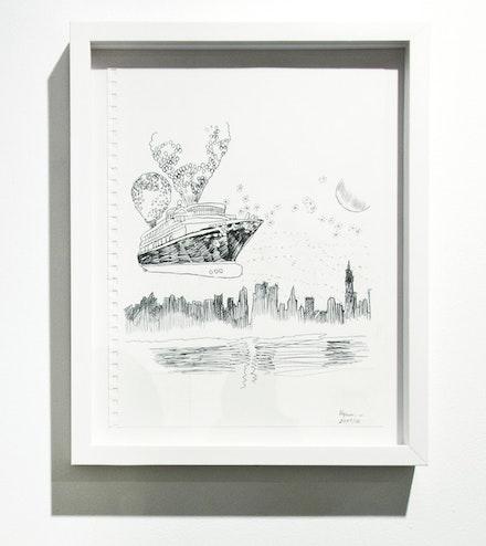 "Irina Korina, ""Happiness Does Exist,"" 2004–12. Carbon, ballpoint pen on paper, 11.7 x 8.3"". Photo: M. Gertz. Courtesy Scaramouche NY."