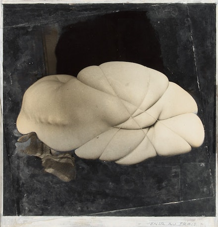"Hans Bellmer, ""Tenir au frais ('Keep Cool'),"" maquette for the cover of Le Surréalisme, même #4, pp. 126–127, 1958. Collage of vintage gelatin silver prints & gouache on masonite. 9 1/4 x 9 5/8"". Ubu Gallery, New York & Galerie Berinson, Berlin. © ADAGP, Paris"