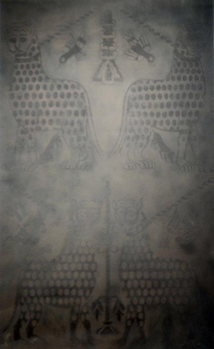 """Alejandra Prieto, """"Ornamental Dust (Cheetah)."""" Coal powder on silk. 72 x 48"""". Courtesy Y Gallery."""