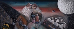 "Juju Yin-Ling Hsu, ""Bad Bedtime Story-Hunter,"" 2012. Oil on canvas. 24 x 60"". Courtesy Rooster Gallery"