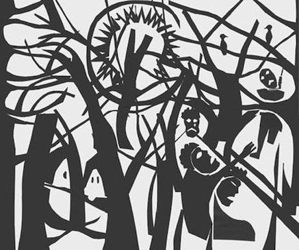 <body> Robbert Copper, &ldquo;Strange Fruit.&rdquo; Black paper on white paper. 24 x 24&quot;. Courtesy the artist.  </body>