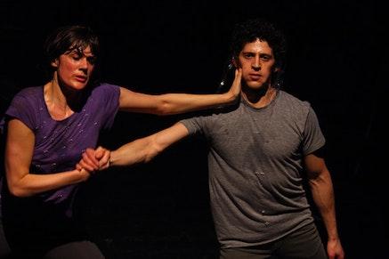 <body> Faye Driscoll and Jesse Zaritt in <em>You&#146;re Me</em>. Photo credit: Paula Court.  </body>