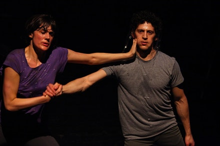 <body> Faye Driscoll and Jesse Zaritt in <em>You're Me</em>. Photo credit: Paula Court.  </body>