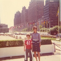 Ted with Joan at the U.N. (June, 1975).