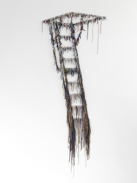 "Nari Ward, ""Scape,"" 2012. Shoelaces. 120 x 51 x 3"". Courtesy the artist and Lehmann Maupin Gallery, New York."