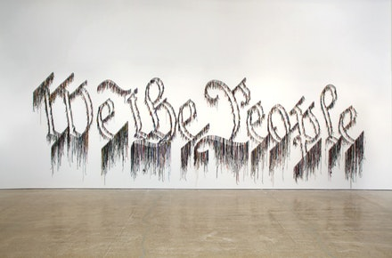 "Nari Ward, ""We the People,"" 2011. Shoelaces. 96 x 324"". 1 AP, Edition of 3. In collaboration with The Fabric Workshop and Museum, Philadelphia. Courtesy the artist and Lehmann Maupin Gallery, New York."