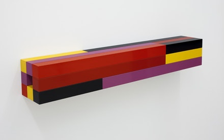 "Liam Gillick, ""Restricted Underlined,"" 2011. Powder coated aluminum. 5.9 x 39.4 x 5.9"" / 15 x 100 x 15cm. Image courtesy of the artist and Casey Kaplan, NY. Photo credit: Cary Whittier."