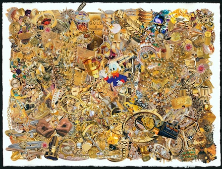 "Stephanie Dodes and Marshall Korshak, Gold Collage, 2012. 22 x 30"". Collage on paper. Courtesy of the artists and Allegra LaViola Gallery."