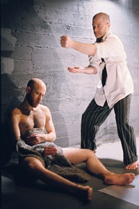 Peter Jacobs and M K S Volcofsky in <i>Kicked Out of Death</i> at The Chocolate Factory. Photo by Erte DeGarces.