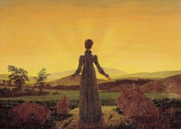"Caspar David Friedrich, ""Woman Before the Rising Sun"" (ca. 1818). Oil on canvas, 22 x 30 cm. Museum Folkwang, Essen. Copyright Museum Folkwang, Essen. Photo by Jens Nober."