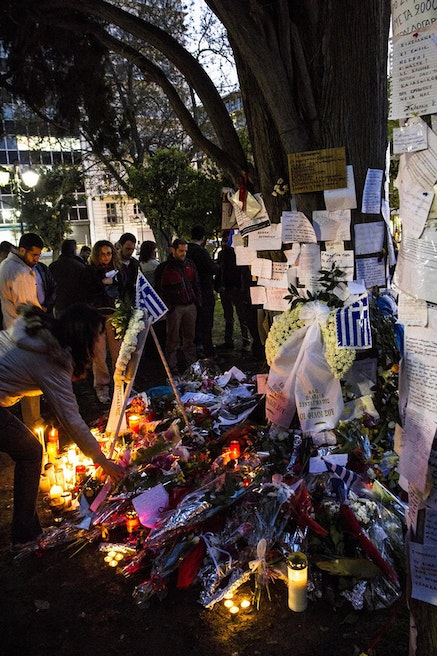 The tribute to Dimitris Christoulas in Syntagma Park under the tree where he shot himself. Photo: Jack Zalium, flickr.com.