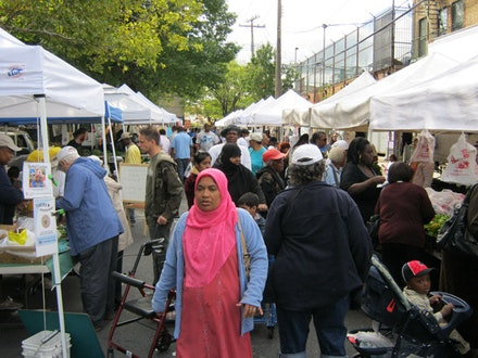 A busy farmers' market. Photos of East New York Farms by Sarita Daftary