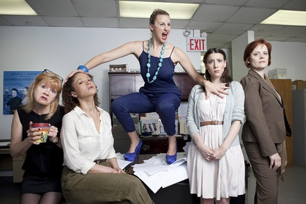 <p><i>WE PLAY FOR THE GODS</i> with (L-R) Annie Golden, Amber Gray, Alexandra Henrikson, Irene Sofia Lucio and Erika Rolfsrud. Photo: Chasi Annexy.</p>