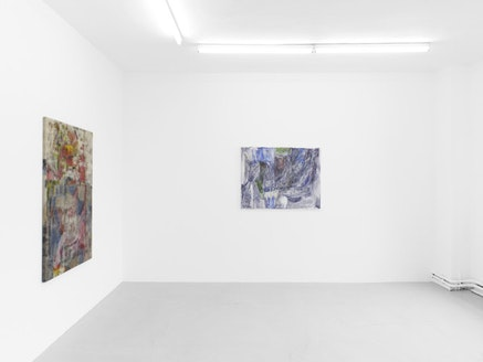"""Varda Caivano, L-R: """"Untitled,"""" 2011-2012, oil and ink on canvas, 135 x 93 cm; """"Untitled,"""" 2010, oil on canvas, 84 x 107.8 cm. Photo: Nick Ash. Courtesy Circus, Berlin and Victoria Miro, London."""