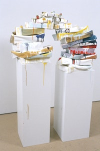 """Keiko Narahashi, """"gravity's rainbow"""" (2006). Oil, gesso, paper, wood, candles, dimensions variable. Courtesy Hudson Franklin."""