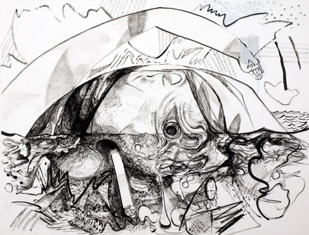 "Dana Schutz, ""Swim, Smoke, Cry #2,"" 2010. Ink and gouache on paper, 38 x 50"". Courtesy Friedrich Petzel Gallery."