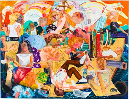 "Dana Schutz, ""Build the Boat While Sailing,"" 2012. Oil on canvas, 120 x 156"". Courtesy Friedrich Petzel Gallery"