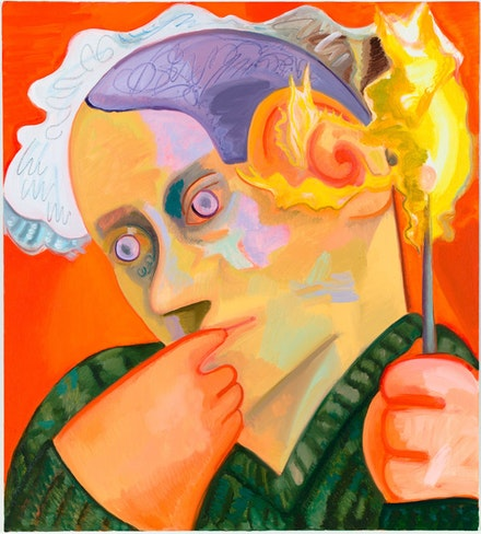 "Dana Schutz, ""Ear on Fire,"" 2012. Oil on canvas, 40 x 36"". Courtesy Friedrich Petzel Gallery."