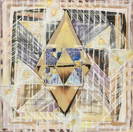 "Sam Gordon, ""Mirage,"" 2010. Bleach, acrylic paint, spray paint, oxidized gold leaf, ink-jet iron-on transfer, PVA sizing on sewn clothes and canvas remnants, 52 x 52"". Courtesy of Feature Inc., New York."