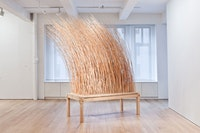 "Martin Puryear, ""Night Watch,"" 2011. Maple, willow, and OSB. 116 x 122 x 48"". Courtesy of McKee Gallery."