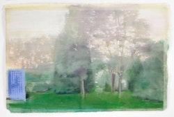 "Ellen Phelan, ""Sunset Garden,"" 2009. Watercolor and pastel on paper, 26 1/8 x 41 3/4"". Image courtesy the artist and Klemens Gasser and Tanja Grunert, Inc. Photo: Ellen Page Wilson."
